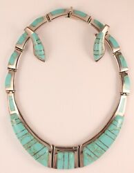 Taxco Mexico 950 Silver Turquoise Inlay Choker Necklace With Matching Earrings