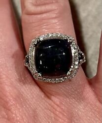 7000 Custom 14k White Gold 4.49cts Tw Black Fire Opal And Diamond Ring -certified