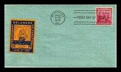 836 3c Stamp 1938 Tercentenary Of Delaware Fdc By Label Of The Era Cachet