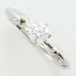 Jewelry Platinum 950 Ring 7 Size Diamond Vvs1 0.11 About3.2g Free Shipping Used