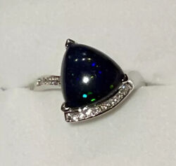 8000 New Custom 14k White Gold 3.58cts Black Opal And Diamond Ring - Certified