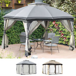 12and039 X 10and039 2-tier Outside Pergola Canopy W/ Steel Frame And Arched Roof Beige