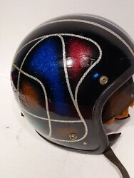 Vintage 1970 Motorcycle Helmet Retro Very Rare Flake, Sparkle Snell Approved