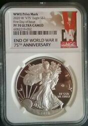 2020 W V75 Silver Eaglepf70 Ultra Cameo First Day Issue Fdi Wwii Pivy Mark