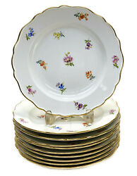 10 Meissen Germany Porcelain 9.125 Inch Plates Hand Painted Flowers