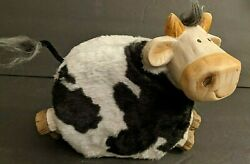 New Farmhouse Country Fuzzy Smiley Cow Ceramic Coin Piggy Bank W/stopper Signed