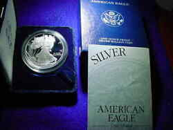 2003-w Proof Ultra Cameo Silver Eagle .999 Silver One Ounce Eagle With Ogp1085