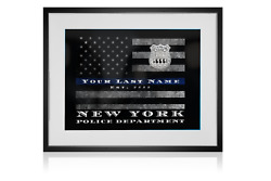 Nypd Thin Blue Line Flag Customized Personalized Police Officer Wall Art