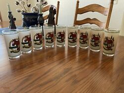 113th Kentucky Derby Glasses Churchill Downs 1987 Set Of 9.