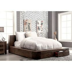 Low-profile Head And Base Design Natural Wood Grain Pattern Queen Size Storage Bed