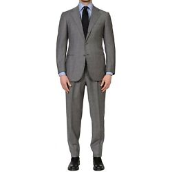 Cesare Attolini Napoli Handmade Gray Wool Super 100and039s Flannel Suit 48 New Us 38