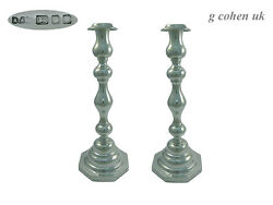 Pair English Sterling Silver Candlesticks 1946