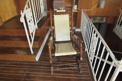 Antique Jas. Schoolbred And Co. Solid Wood Spindle Style Spring Rocking Chair1764