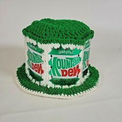 Vintage Mountain Dew Yahoo Steel Can Macrame Floppy Yarn Hat Green And White