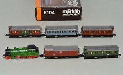 Z Scale Marklin 8104 Kpev Royal Prussian 2-6-0 Steam Loco And Passenger Cars Set
