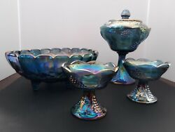 Blue Iridescent Carnival Glass Candy Dish W/ Lid, Fruit Bowl And 2 Candle Holders