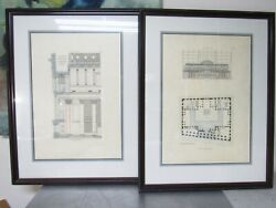 Pair Architectural Drawings National City Bank New York Mckim Mead White Ltd Ed.
