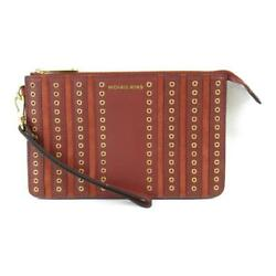 Used Michael Kors Clutch Bag Mens Women #x27;S Leather Brown Brandoff Brand Off $102.96