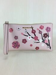 Used Michael Kors Clutch Bag Mini Pouch Leather Pnk Floral $123.29