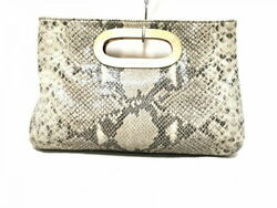 Michael Kors Clutch Bag Women #x27;S Black Light Gray Gold Python Pattern Leather $129.89