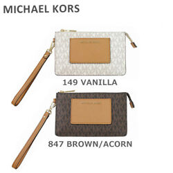 Michael Kors Clutch Bag 32F7Gbfw8B 149 Vanilla 847 Brown Acorn Leather Women #x27;S $143.63
