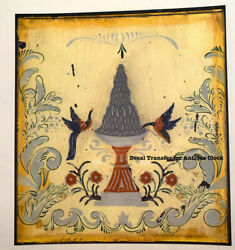 Clock Glass Transfer/decal Pheasants And Fountain Rare Image For Antique Clocks
