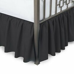 Black Solid Ruffled Bed Skirt 685 Tc Egyptian Cotton _ With Same Fabric Platform