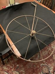 Antique Surveyorand039s Measuring Wheel With Working Meter - Signs Of Old Red Paint
