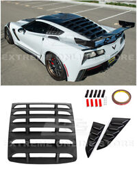 For 14-19 Corvette C7 Coupe   Rear And Side Quarter Window Louvers Sun Shade Vent
