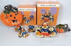 Lot 4 Fitz And Floyd Halloween Themed China Candy Bowl Figurines Votive Dish