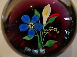 Vintage Francis Whittemore Glass Lampwork Flower And Calla Lily Paperweight