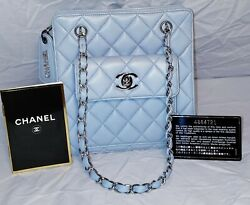 Authentic Rare Vintage 90and039s Quilted Lambskin Flap Handbag Blue Silver