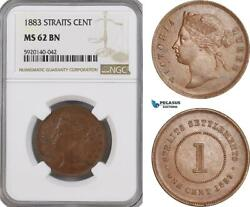 Ag317, Straits Settlements, Victoria, 1 Cent 1883, Ngc Ms62bn