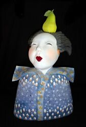 Hawaii Whimsical Pottery Sculpture Balancing Act W. Pear By Vicky Chock Z