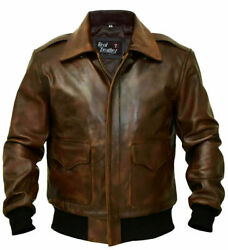 A2 Flight Pilot Bomber Wwii Distressed Brown Stylish Mens Real Leather Jacket