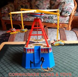 Vintage Carnival Carousel Airplane Ride Tin And Plastic Wind Up Toy Working 👀