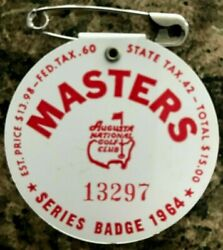 1964 Used Masters Golf Badgecollectors Itemvery Very Rare Ticketpalmer