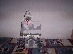 Vintage Light -up Wooden Christmas Church W Bottle Brush Trees And Wreath