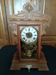Rare 1800and039s Antique William L Gilbert Lake No.2 W/ Key Mantle Clock Works Great