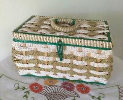 Antique Vintage Large Sewing Basket Box Woven Wood Base Green Satin Faux Pearls