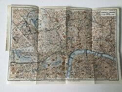 Central London 1937 Vintage County Map Original Hyde Park Railway Stations
