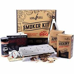 Herb And Grill 7 Piece Bbq Cooking Gift Set For Dad | Smoking Wood Chip Smoker