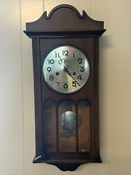 Vintage The Commodore Collection 35 Day Chime Mantle Wood Clock Works In Box