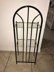 Vintage 3 Tier Metal Gold And Black Wire Display Plant Bathroom Book Stand