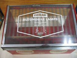 Vintage Eveready Service Station Automobile Lamps Display Cabinet Union Carbide