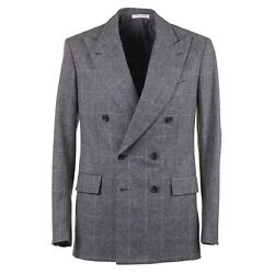 Orazio Luciano Slim-fit Gray Check Soft Brushed Flannel Wool Suit 40r Eu 50
