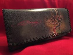 RARE Ed Hardy Hand Stitched Leather Top Hat Wolf Wallet Clutch Blue Trifold $30.00