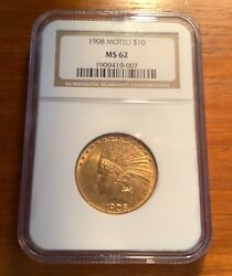 1908-p 10 Gold Indian Head Eagle Ngc Ms62