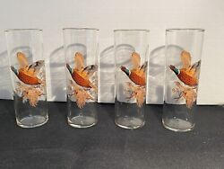 4 Vintage Pheasant Clear Tall Drinking Glasses Mid Century Modern Hunting