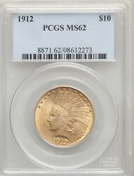 1912 10 Gold Indian Head Eagle Pcgs Ms 62